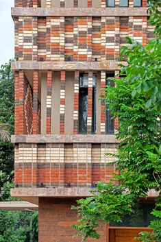 Studio Lotus creates patterend brick facade for Indian government building Brick Architecture, Brick Facade, Brickwork, Source Of Inspiration, Cladding, Wall Design, Bricks, Indian Government, Lotus