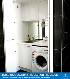 Combined bathroom laundry, combined laundry, European laundry C. Laundry In Kitchen, Laundry Cupboard, Laundry Nook, Laundry Cabinets, Small Laundry Rooms, Laundry Room Organization, Laundry In Bathroom, Small Bathroom, Cupboards