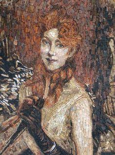 La Treccia Bionda by Evelina Della Vedova for the studio Scuola Mosaicisti de Friuli  (based on a Giovanni Boldini Painting)