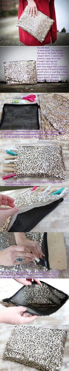 Diy Projects: NO SEW! 1$ SEQUIN DIY CLUTCH Bag