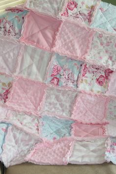 Shabby Chic Baby Girl Rag Quilt Pink Blue Nursery Ready to Ship