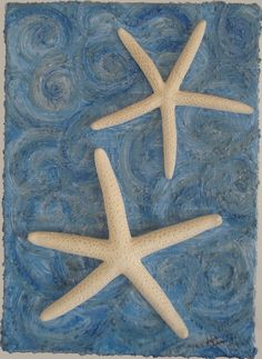 Starfish Duo in Ocean Swirls by artbyjulia on Etsy, $14.00