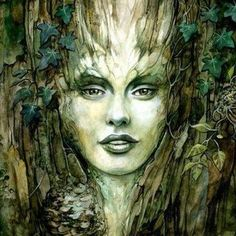 Dana Watercolor by Severine Pineaux Fantasy Women, Fantasy Art, Art Visionnaire, Tree Woman, Creation Photo, Gnome, Visionary Art, Green Man, Pics Art