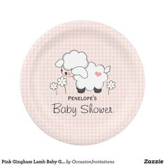 Pink Gingham Lamb Baby Girl Shower