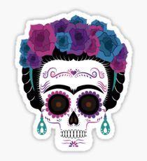 'Frida Kahlo Sugar skull' Sticker by SouthPrints Sugar Scull, Sugar Skull Art, Crane, Frida And Diego, Frida Art, Sugar Skull Tattoos, Home Tattoo, Sticker Bomb, Diy Mothers Day Gifts
