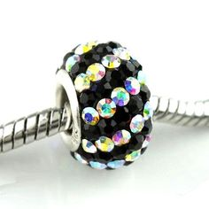 Authentic Lenora Sterling Silver & Swarovski Crystal Striped European Charm Bead - Clear AB & Jet Black