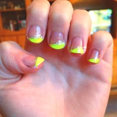 My nails :) neon diagonal French with glitter :)