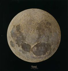 """Mond, Julius Grimm (1842-1906), 1888. """"The painting shows the moon as it can never be seen in reality: fully lit across the entire surface at once. [Its] highly textured surface faithfully represents the actual landscape of the moon, which Grimm determined with precision by examining the shadows cast during the various lunar phases. When lighted from the direction Grimm indicated with a painted arrow, the ridges of paint cast shadows that create the photorealistic effect of the painting."""""""