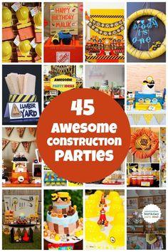 45 Construction Birthday Party Ideas - Spaceships and Laser Beams Construction Birthday Parties, Construction Party, 3rd Birthday Parties, Birthday Fun, Birthday Ideas, Third Birthday, Special Birthday, First Birthdays, Party Ideas