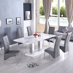 Charming Monton Extendable Dining Table In White With 6 Vesta Grey Chairs White Dining  Table Modern,