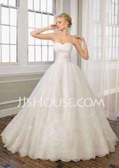 A-Line/Princess Sweetheart Chapel Train Organza Satin Wedding Dresses With Ruffle Lace (002004784) - JJsHouse.com