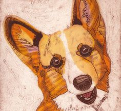 Welsh Corgi Collograph Art  Lana Lee 4 by bonniemurrayart on Etsy, $75.00