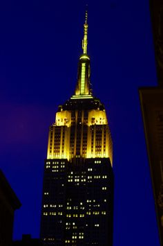 June 11, 2015: To honor the talented young men and women receiving @scholastic Art & Writing Awards, the Empire State Building's lights shine in yellow.