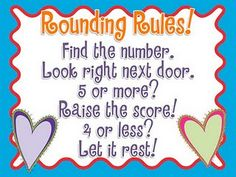 Rounding Rules poem for upper grades-kids copy poem in math journal/notebooks