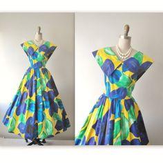 Floral Dress // 80s Floral Print Cotton Garden Party Full Summer Dress M