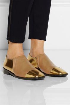 Marni|Metallic leather loafers