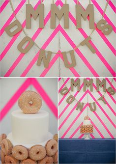 the pink crepe paper stripes is a good party decor idea.