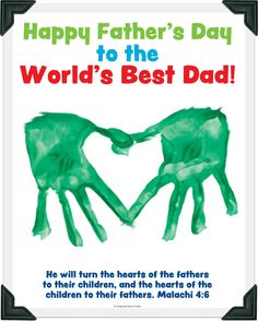 """We made these this morning in Sunday school with Ps 103:13 inside - """"Just as a father has compassion on his children, so the LORD has compassion on those who fear Him."""" But I traced, cut out, and pasted the kids' hands instead of doing paint. I learned my lesson about fingerpainting with a large group of toddlers the hard way!"""