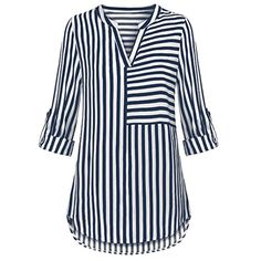 Womens Tops and Blouses Autumn 2018 feminina Streetwear Striped Long Sleeve Shirts Tunic V Neck Ladies Top Harajuku Clothes White Casual, Casual Tops, Casual Wear, Striped Long Sleeve Shirt, Long Sleeve Shirts, Corsage, Unique Outfits, Blouse Styles, Long Tops