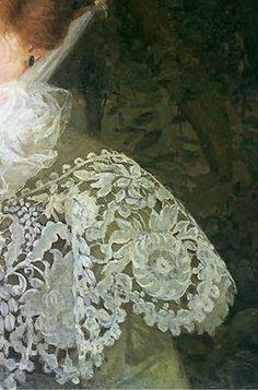 Portrait of the artist's wife, 1907, by Edward Okun (1872-1945) #Art #Detail