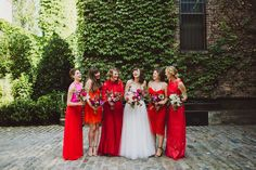red bridesmaids,Naeem Khan Dress,Colorful NYC Wedding,Colorful NYC Wedding, Amber Gress Photography, Red, New York City, Modern Wedding, Geometric, The Foundry