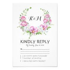 #wedding #responsecards - #Elegant Pink Floral Watercolor Wreath Wedding RSVP Card