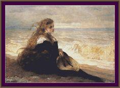 En la orilla del mar por George Elgar por Maxispatterns en Etsy