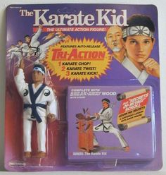 "Action figure of Daniel LaRusso, the Karate Kid, with ""Secrets of Miyagi"" scroll, from Remco"