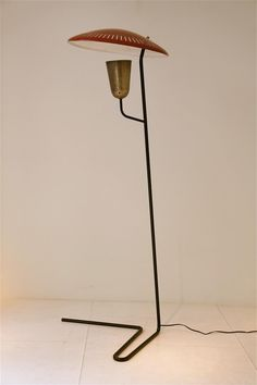 Mathieu Mategot, Lacquered Metal and Gilt Brass Perfo-Lux Floor Lamp, c1955.