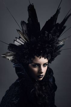 The 'Black Corvidae' crow and magpie wing headdress, Worn by Alivya Free, Photo by Dean @ Bellitudo Photography