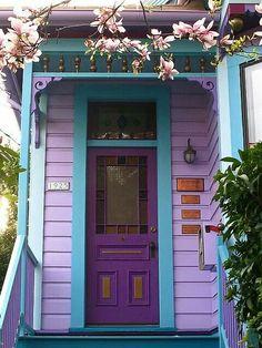 Pastel colored doorway