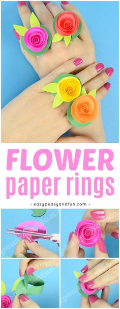 Beautiful Flower Paper Rings Spring Craft for Kids with Printable Template #flowercrafts #Springcrafts #papercrafts