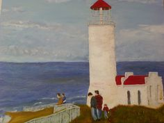 Light house, Palette Knife and brush, 18x24 in, oil on canvas, by Leona Bushman