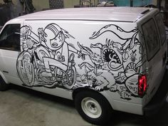 Sharpie-decorated van