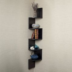 Furniture. Impressive Unique Shelving Units Suitable For Small Living Place Ideas. Fascinating Unique Shelving Units Design With Stylish Corner Mounted Wall Shelf Combined Walnut Color Also Five Line Up Shelves For Living Room Ideas