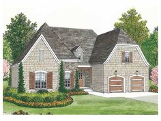 Home Plan HOMEPW16724 is a gorgeous 1400 sq ft, 1 story, 3 bedroom, 2 bathroom plan influenced by + French Country  style architecture.