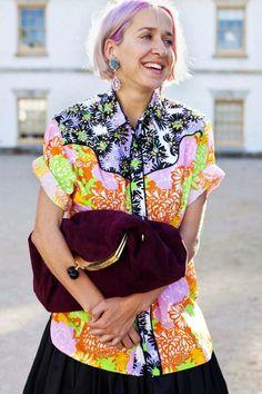 Meg Gray Wearing Prada top, skirt, shoes and earrings and Miu Miu clutch #MBFWA Day 3 #fashionbag