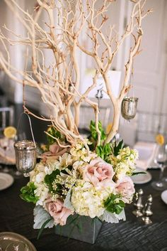 Ideas from the dollar storegotta love the dollar store just in like the branches dirty pink roses greenery philadelphia wedding with modern rustic glam from rachel pearlman photography junglespirit Images