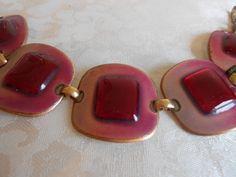 KAYE DENNING Signed Vintage Red Enamel Modernist Bracelet with Original Tag! #KayeDenning