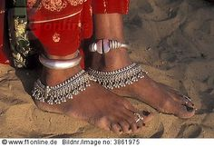 Woman's ankle jewellery, Thar Desert, Rajasthan, India, Copyright: Imagebroker RM Rights Managed imagebr