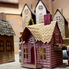 Tim Holtz Village Dwelling Inspiration found on the Sizzix FB Page Christmas Village Houses, Putz Houses, Christmas Villages, Mini Houses, Christmas Wishes, Christmas Home, Christmas Crafts, Merry Christmas, Tim Holtz