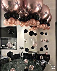 Rose Gold Orbs Black SO Obsessed With This Color Scheme For A Party