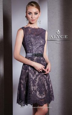 Achieve sophistication and luxury by wearing this breath-taking outfit by Alyce Black Label 5507. This elegant dress features a sleeveless design and high neckline made from lace fabric for a classy effect. An open-back ensemble that is accented with a waist sash with lovely beaded applique that compliments your curves. A knee-length skirt completes this ensemble to flatter your legs beautifully Note: Dry clean only.