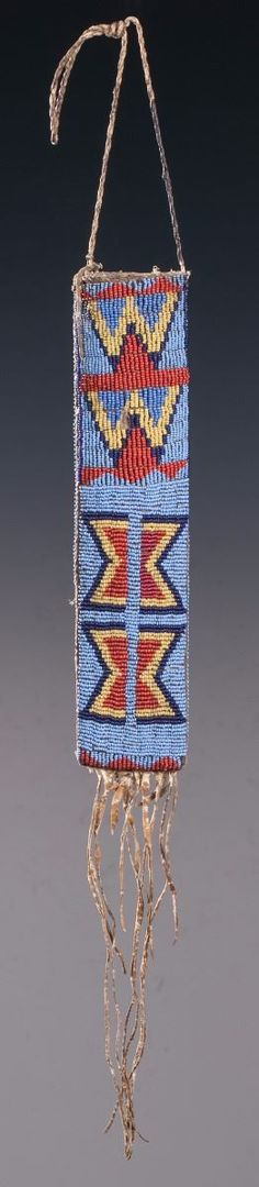 Southern Plains Beaded and Quilled Knife Sheath - Old West Events