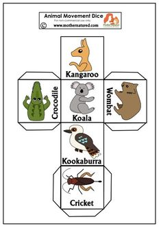 Gorgeous Animal Movement for Kids Wildlife Movement Dice: Draw out your Inner Animal Australia For Kids, Australia Crafts, Australia School, Australia 2018, Australia Funny, Animal Activities, Activities For Kids, Nursery Activities, Yoga For Kids
