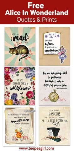 Beautiful Free Alice In Wonderland Free Printables.  Use them for your next tea party, spring soriee or alice themed birthday party.   #freeprintable #aliceinwonderland #teaparty #partydecor #spring #madhatter #teepeegirl