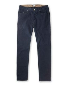 Slim Fit Five-Pocket Stretch Corduroy Trousers in Navy Blue