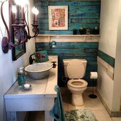 LOVE this stained pallet wall! Barn Bathroom with turquoise pallet wall Pallet Bathroom, Barn Bathroom, Small Bathroom, Bathroom Ideas, Bathroom Makeovers, Bathroom Vanities, Bathroom Cabinets, Master Bathroom, Budget Bathroom