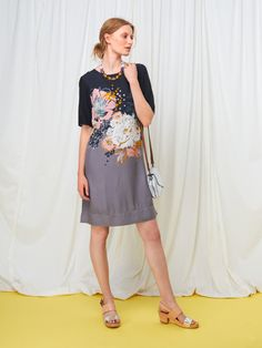 A joyful blend of charm and versatility, our Pheobe Flower Dress is your new favourite. With a bold floral placement print, we've added sleeves, a round neckline and an easy zip at the back. Flower Dresses, Grey, Floral, Flowers, Sleeves, Shopping, Women, Gray, Floral Dresses