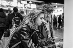 A young couple ordering food at a vending machine in front of a McDonalds shop in the Berne train station. Street Pictures, Young Couples, My Girl